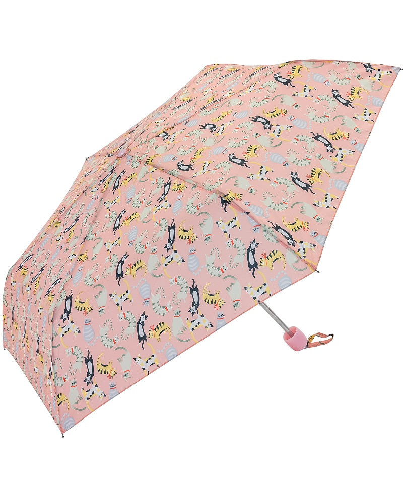 It's Raining Cats Compact Umbrella Pink