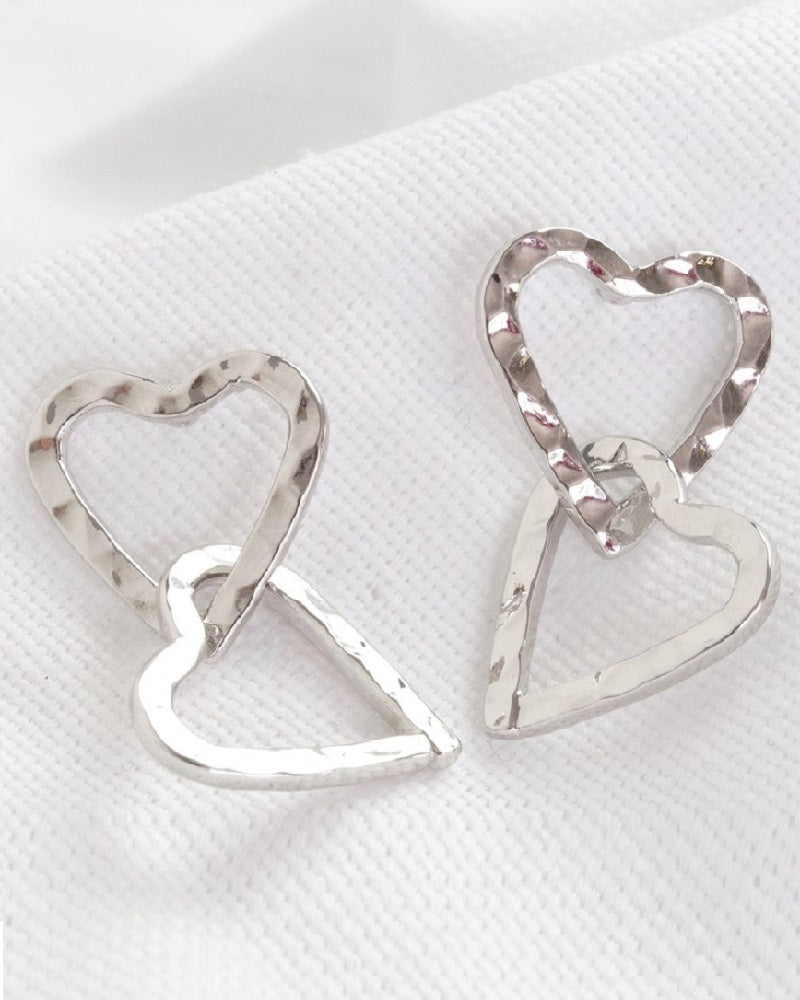 Silver Hammered Interlocking Heart Drop Earrings