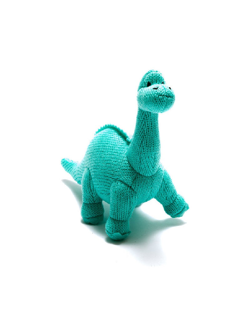 Turquoise Diplodocus Dinosaur Knitted Rattle