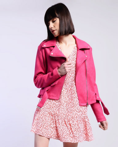 Hot Pink Faux Suede Biker Jacket