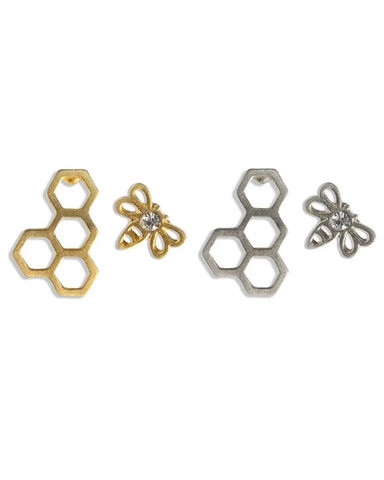 Honeycomb And Bee Stud Earrings Assorted