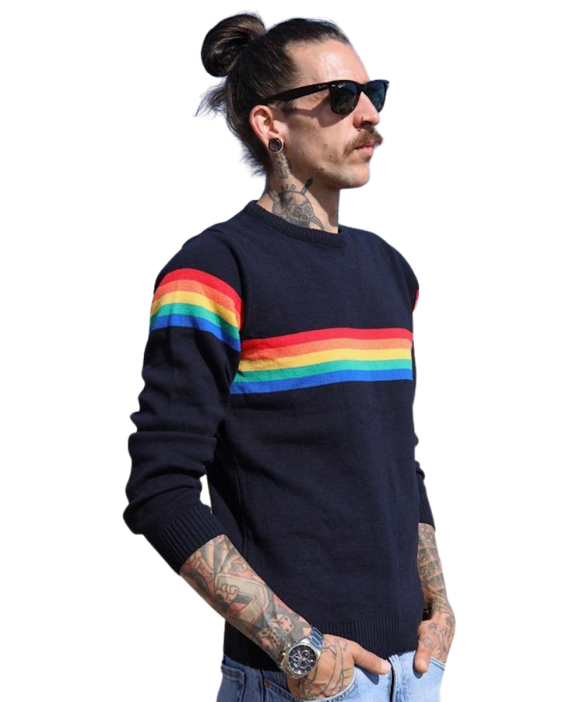 Rainbow Stripe Navy Jumper Unisex