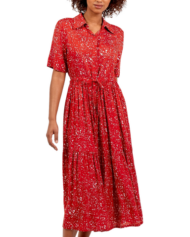 Splatter Print Button Through Shirt Dress Red