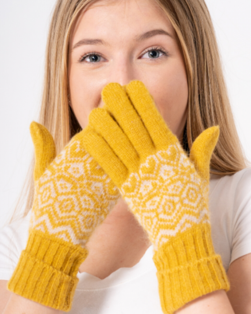 Fairisle Gloves In Mustard