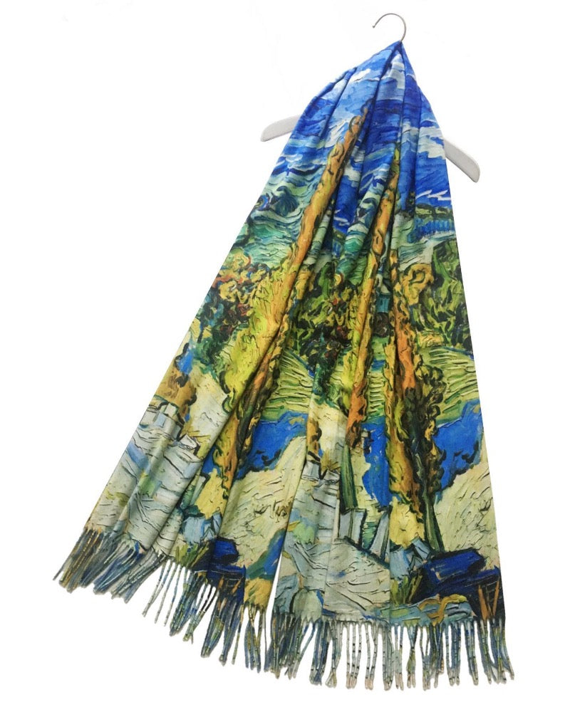 Vincent Van Gogh Two Poplars Tree Artist Painting Wool Pashmina Scarf