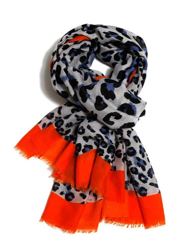 Leopard Print Scarf With Border