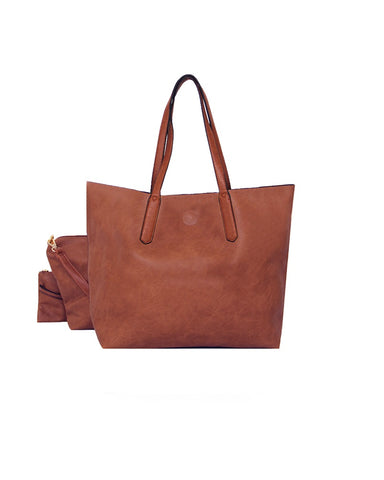 3 In 1 Shopper Handbag Brown