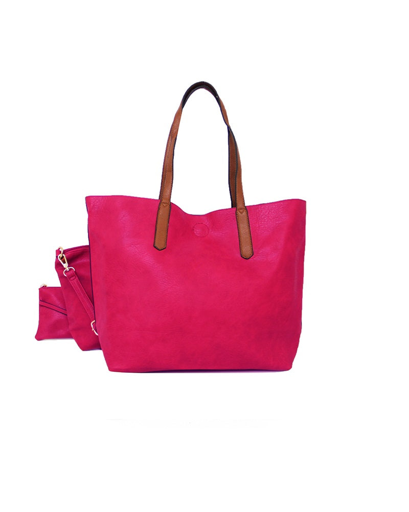 3 In 1 Shopper Handbag Rose Pink