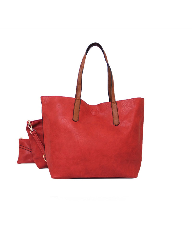 3 In 1 Shopper Handbag Red