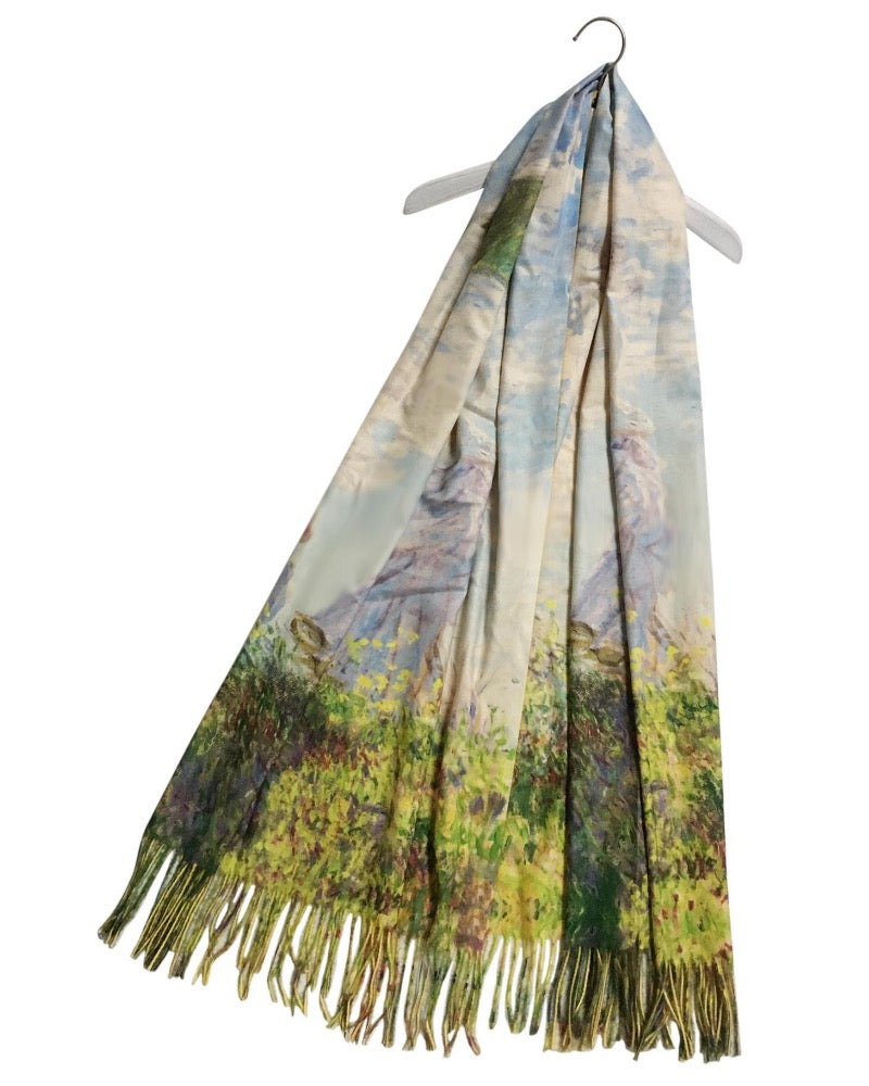 Claude Monet Lady With Parasol Artist Painting Wool Pashmina Scarf