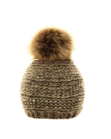 Two Tone Pom Pom Hat