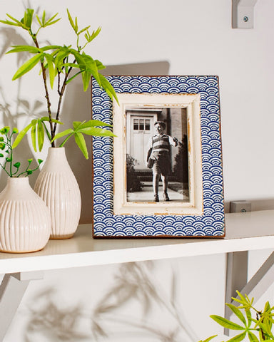 Blue Wave Print Photo Frame
