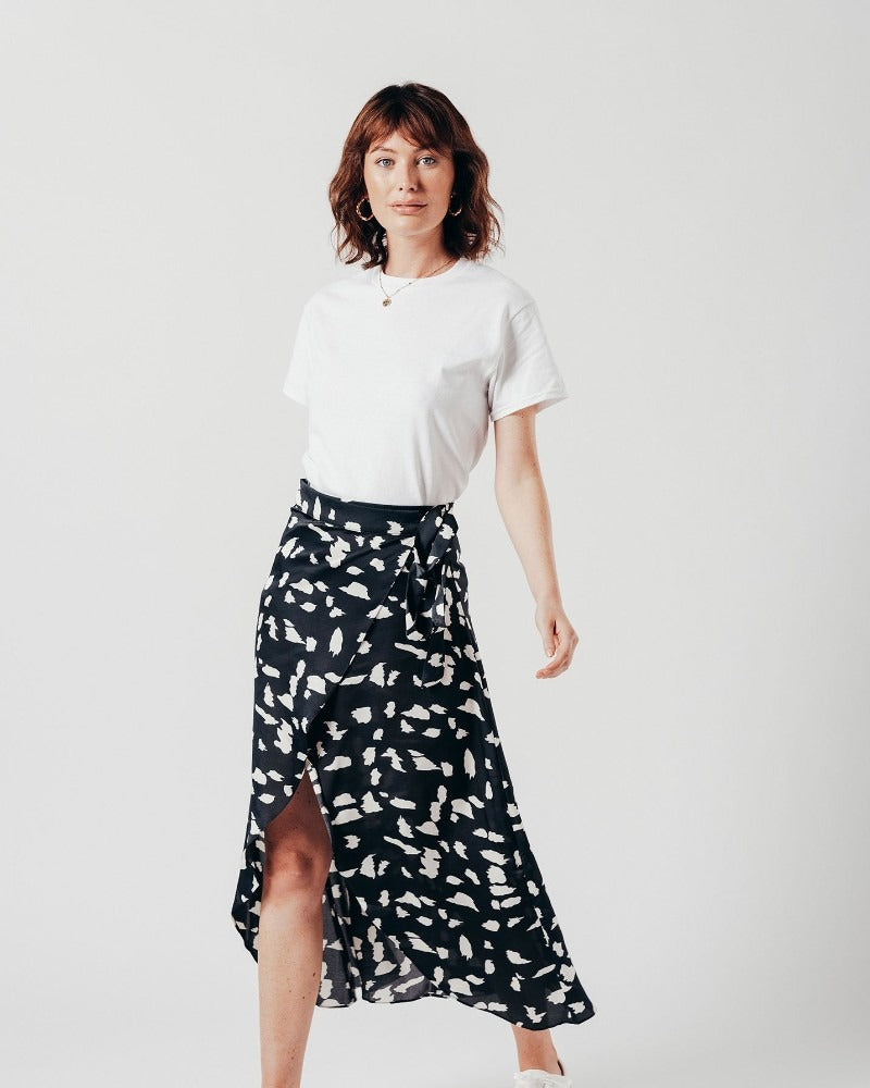 Abstract Print Wrap Over Midi Skirt