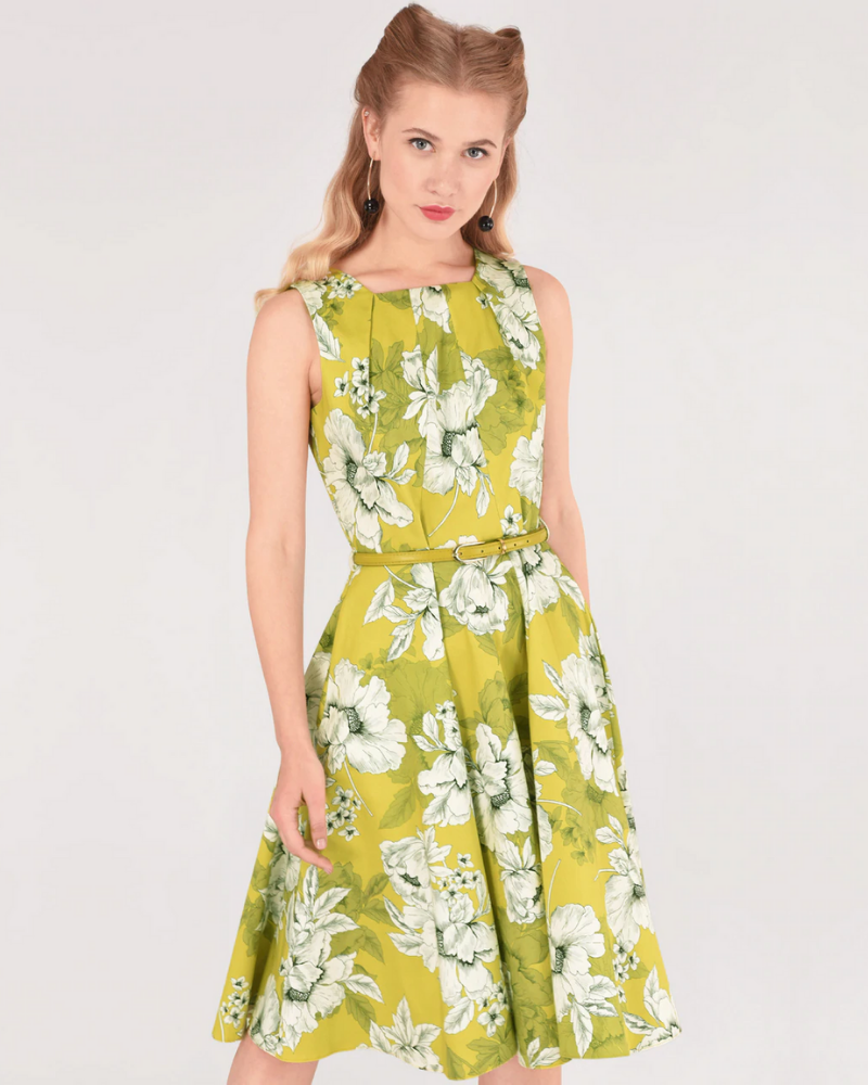 Lime Floral Belted Skater Dress By Closet London
