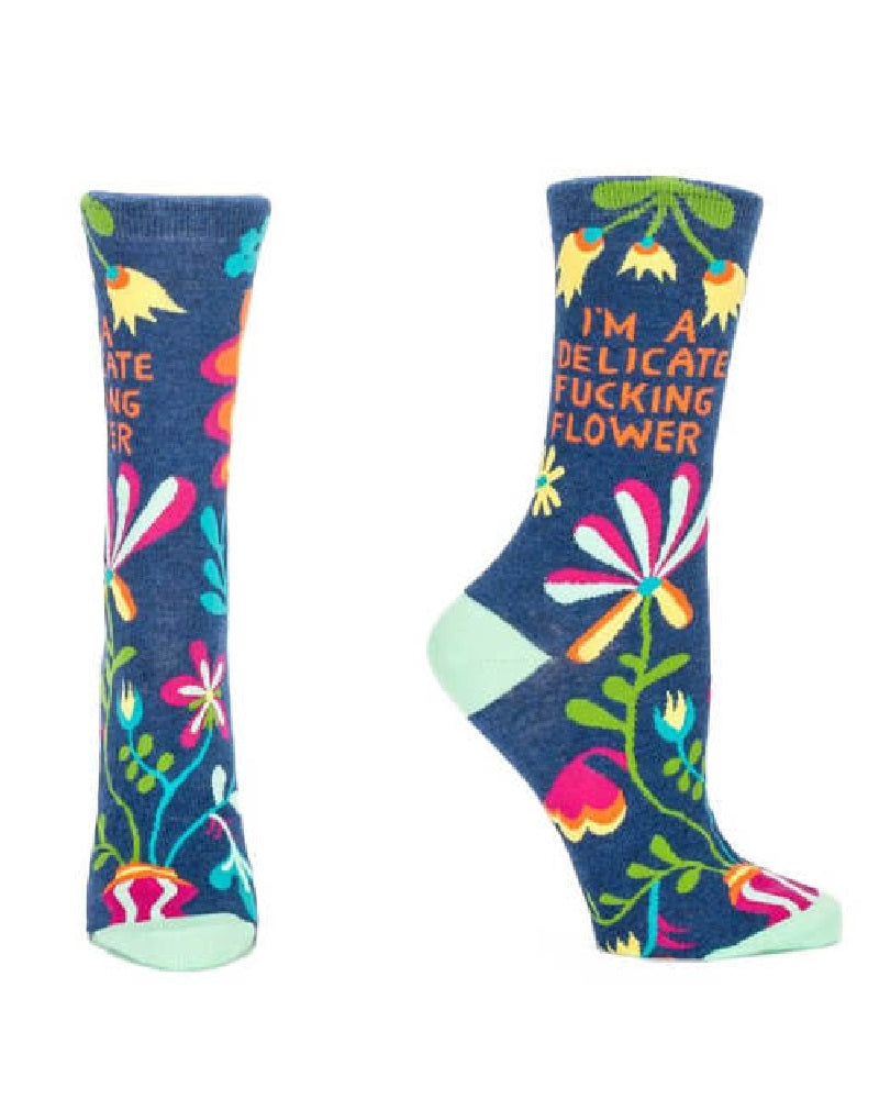 Delicate Fucking Flower Ladies Crew Socks