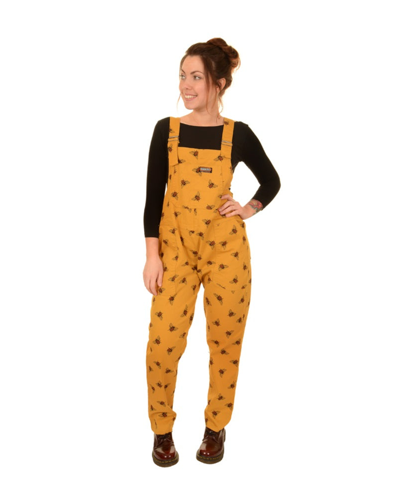 exclusive shoes attractive colour great discount for Bee Print Mustard Cotton Dungarees