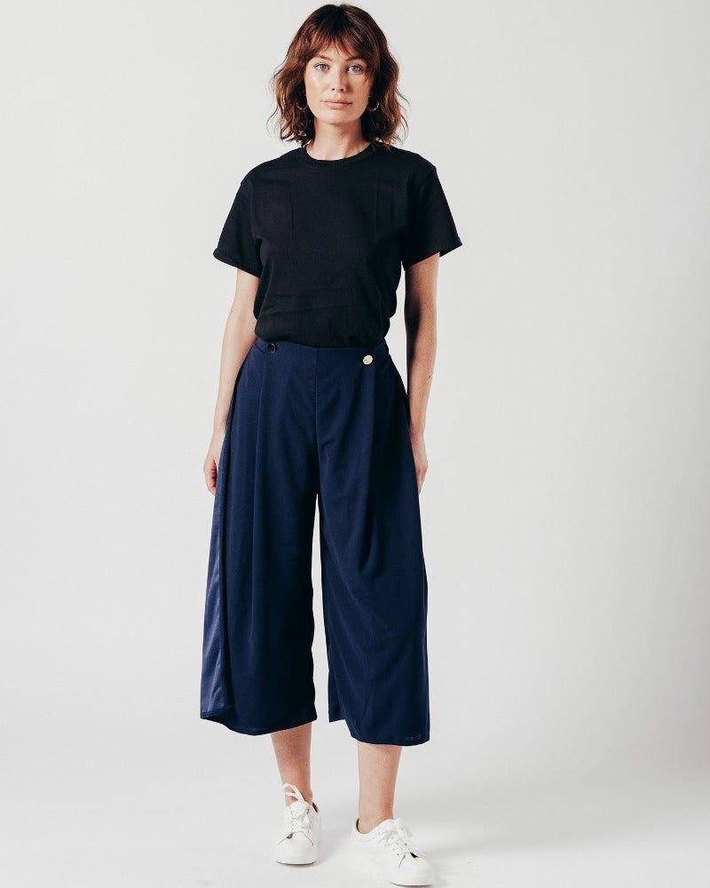 Navy Wide Leg Trousers With Button Detail
