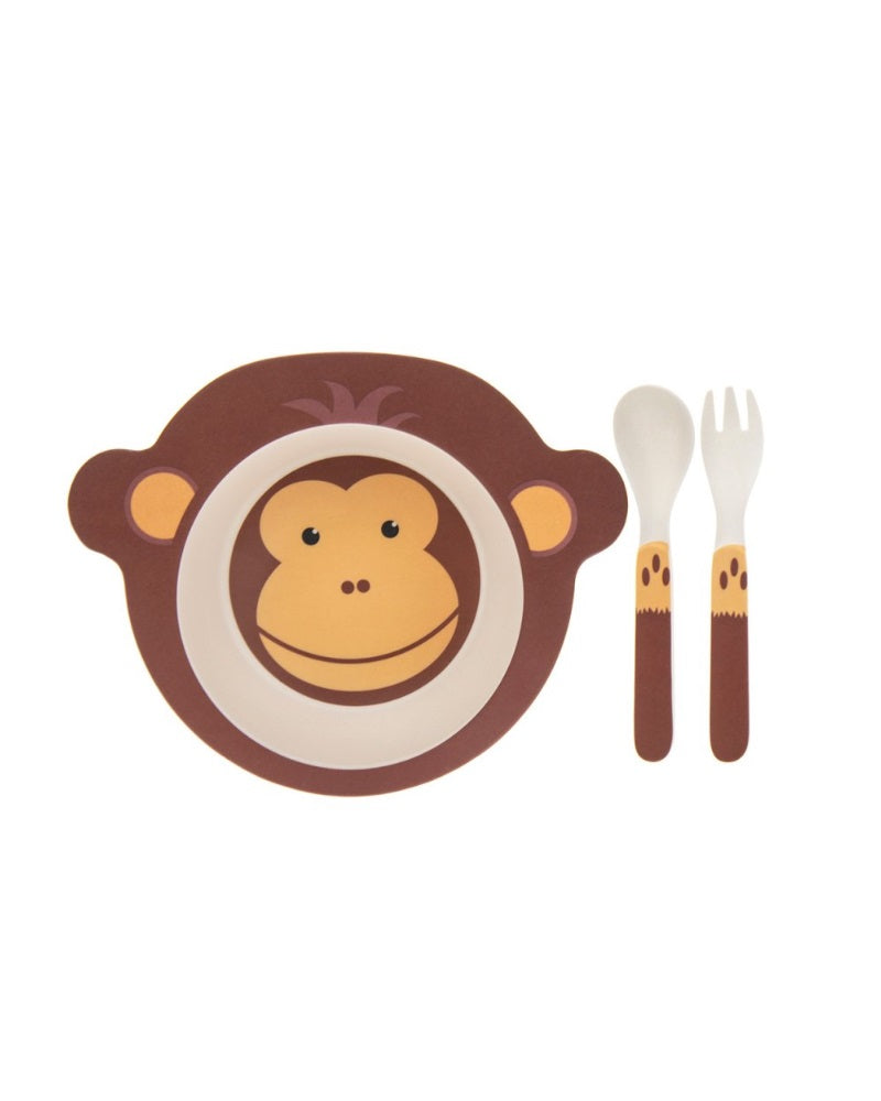 Cups, Dishes & Utensils Bamboo Eco Baby Bowl Spoon Fork Set Monkey Bowls & Plates