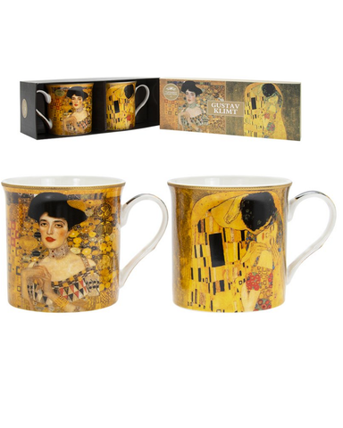 Gustav Klimt Set Of 2 China Mugs Boxed
