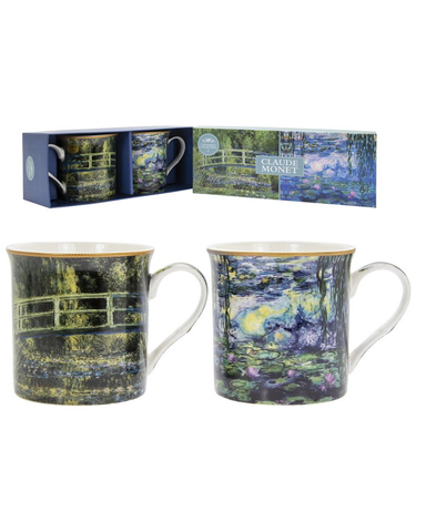 Claude Monet Set Of 2 China Mugs Boxed