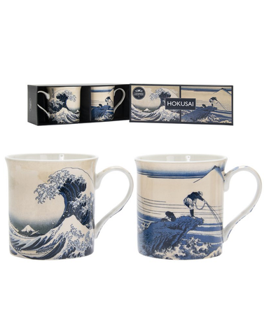Hokusai Fuji Wave Set Of 2 China Mugs Boxed