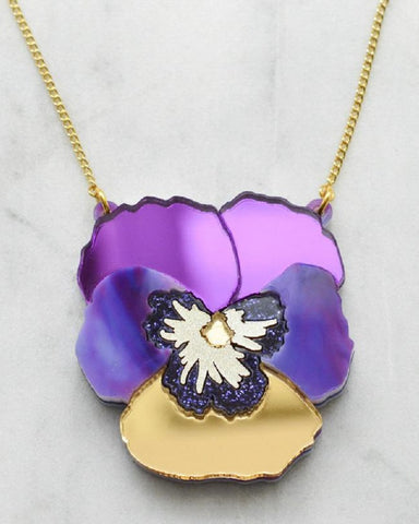 Purple Textured Pansy Necklace