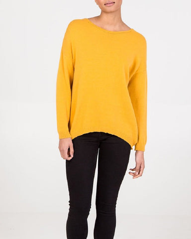 Basic Knitted Jumper In Mustard