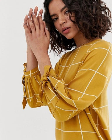 Grid Check Print Tie Sleeve Midi Dress Mustard