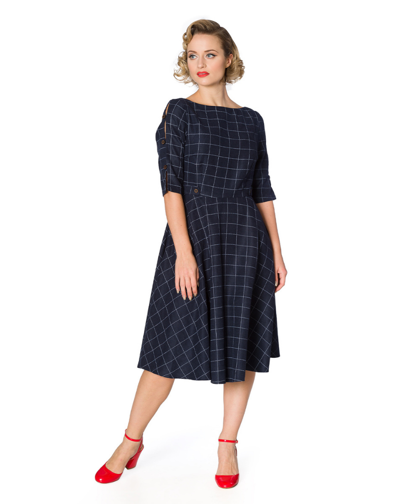 Navy Fit and Flare Check Dress