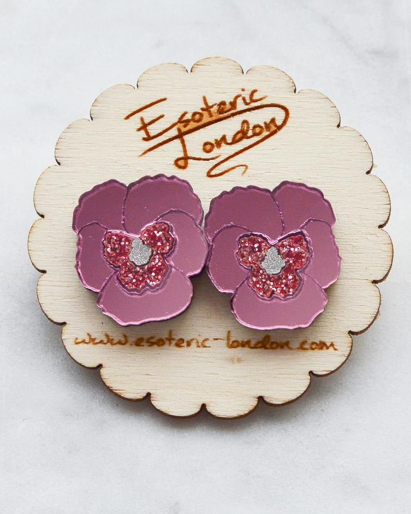 Pink Textured Pansy Earrings