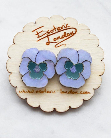 Blue Textured Pansy Earrings