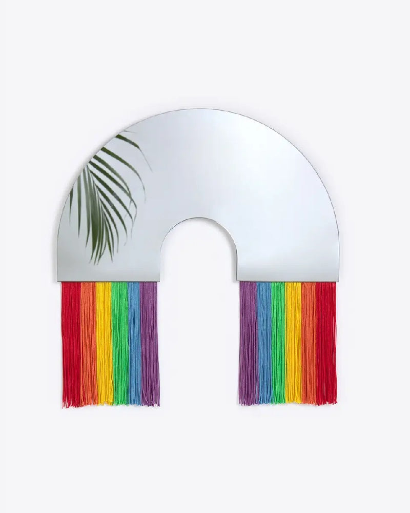 Rainbow Tassle Mirror Medium