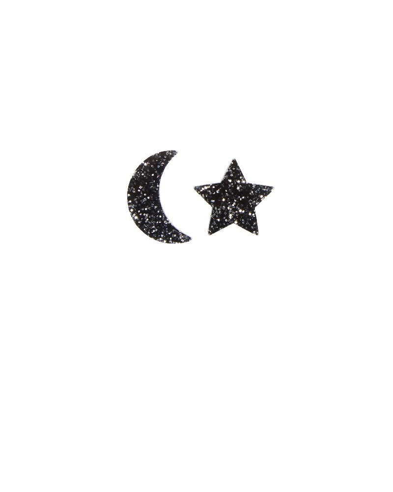 Space Star And Moon Earrings