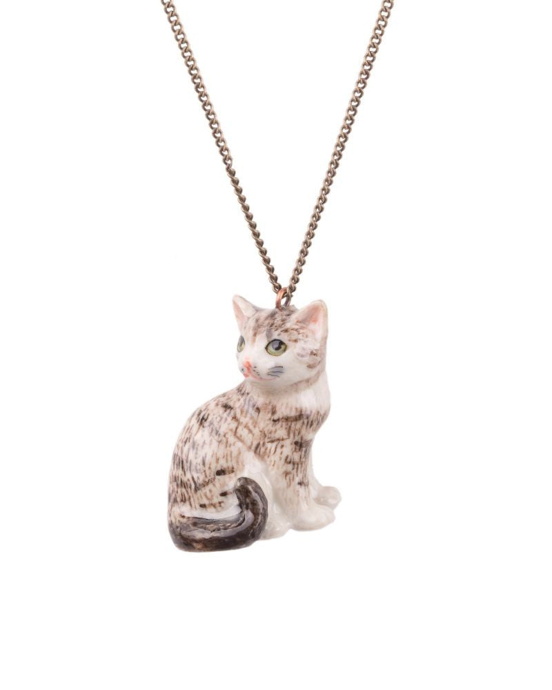 Tabby Cat Porcelain Necklace