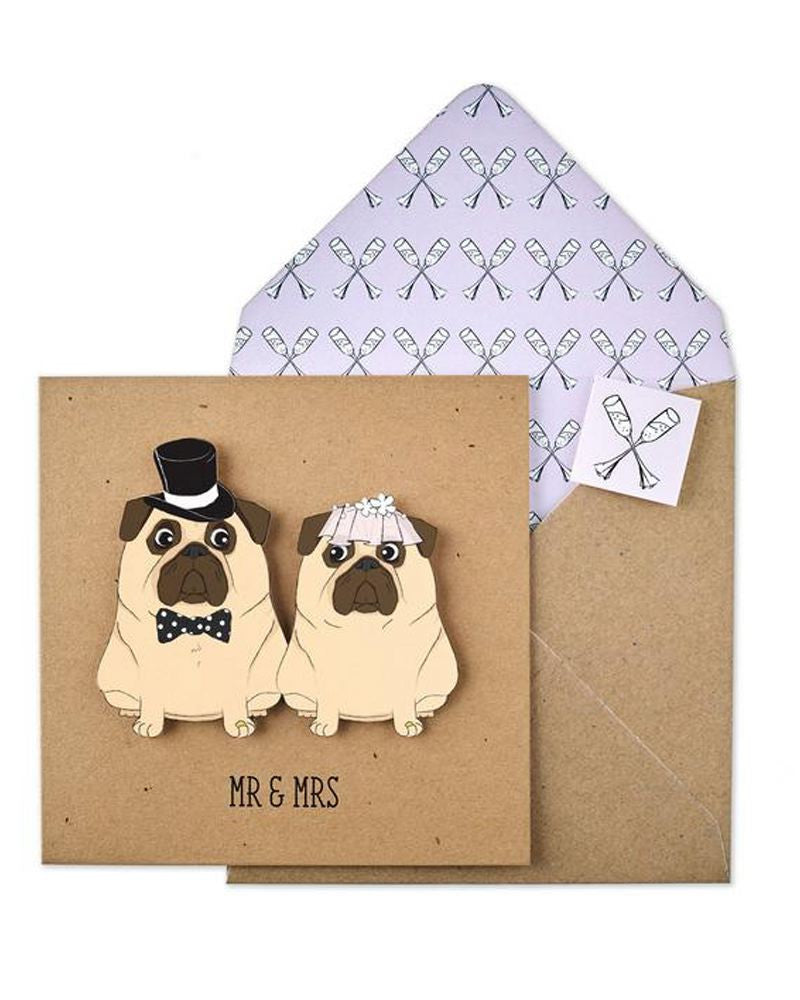 Mr and Mrs Pug Wedding Card
