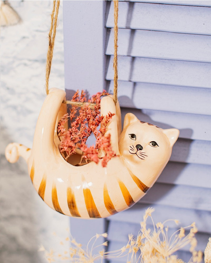 Cat Hanging Planter