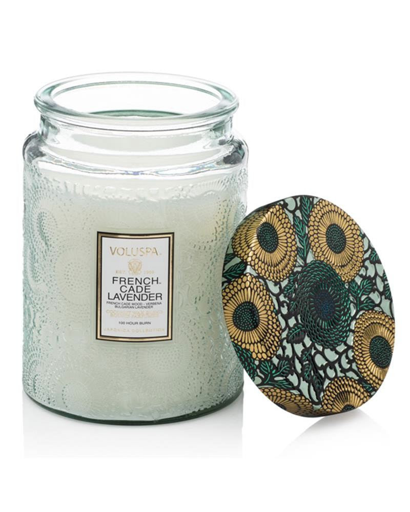 French Cade Large Embossed Glass Candle
