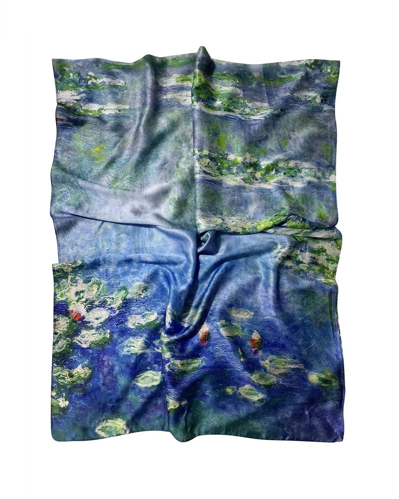 Claude Monet Silk Water Lily Print Scarf