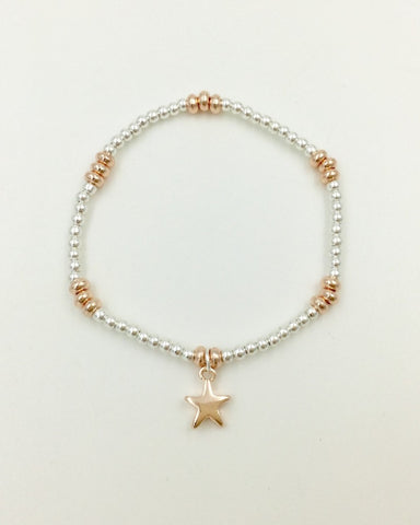 Silver Beaded Rose Gold Star Bracelet