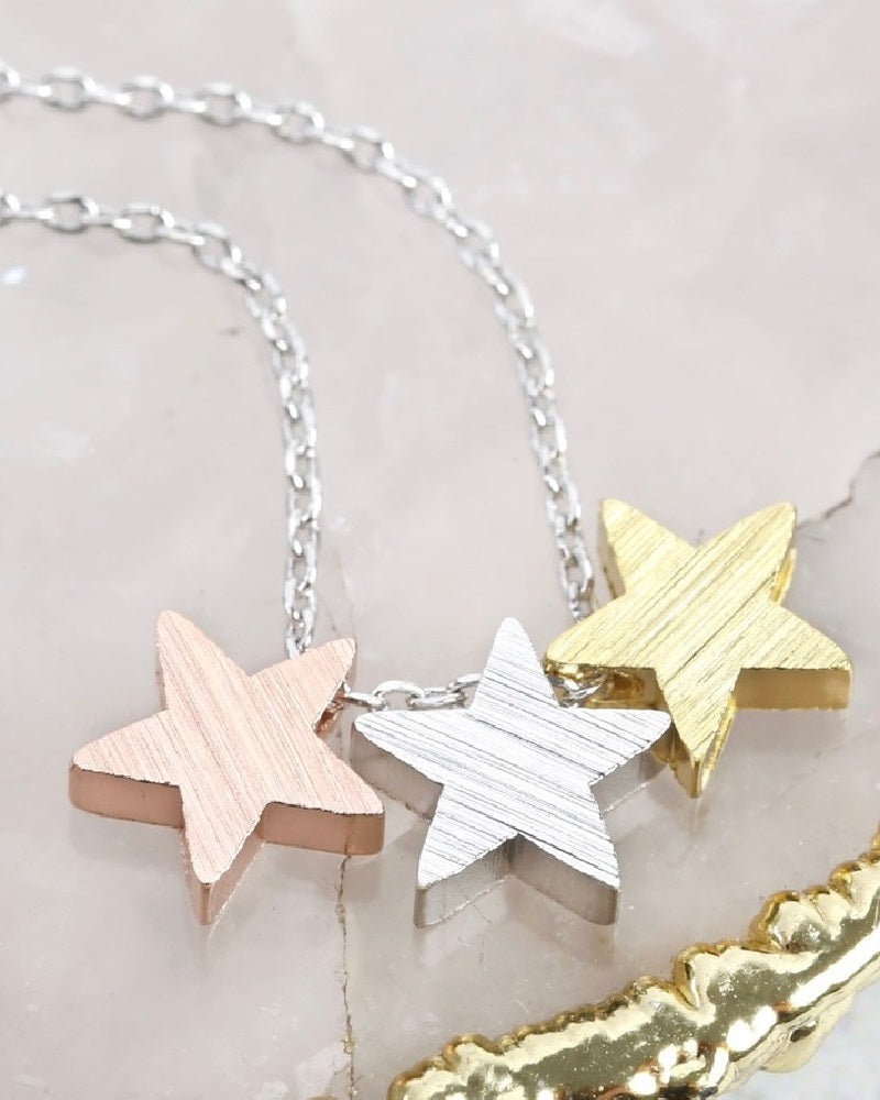 Brushed Mixed Triple Star Necklace