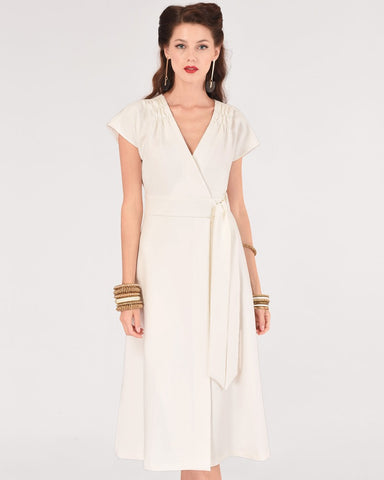Ivory Gather Waist Dress By Closet London