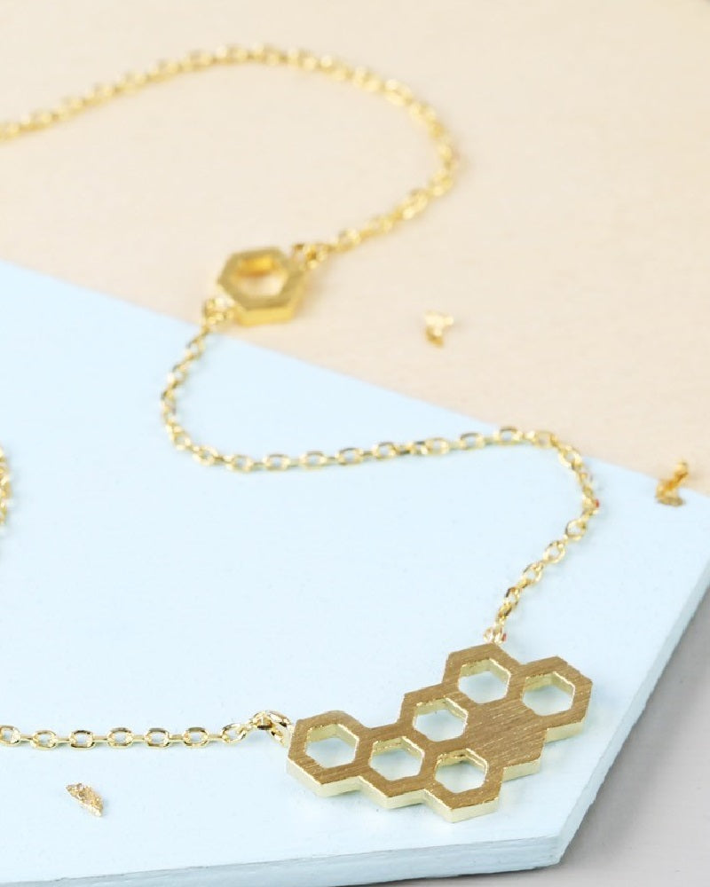 Honeycomb Pendant Necklace In Gold