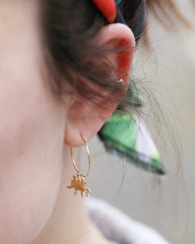 Gold Stegosaurus Dinosaur Hoop Earrings
