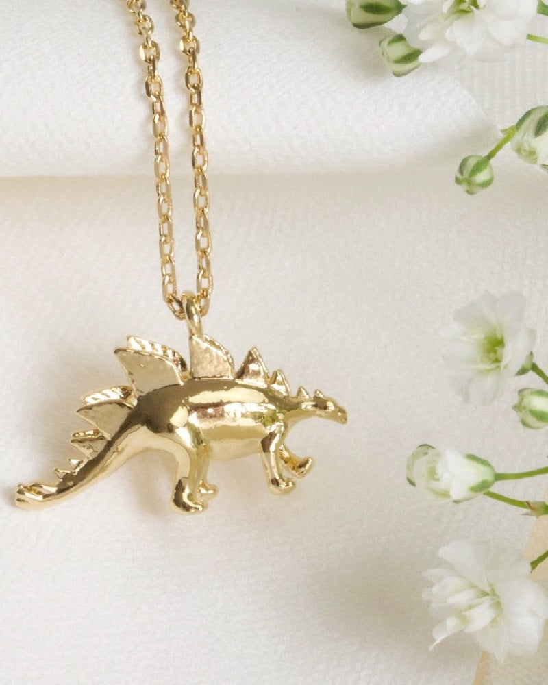 Gold Stegosaurus Dinosaur Necklace