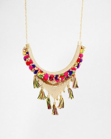 Statement Pom Pom Tassel Necklace Multi
