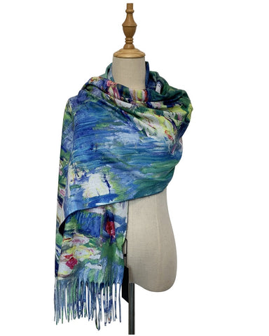 Monet Water Lilies Wool Pashmina Scarf