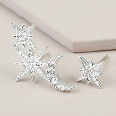 Mismatch Silver Moon and Star Crystal Earrings in Silver