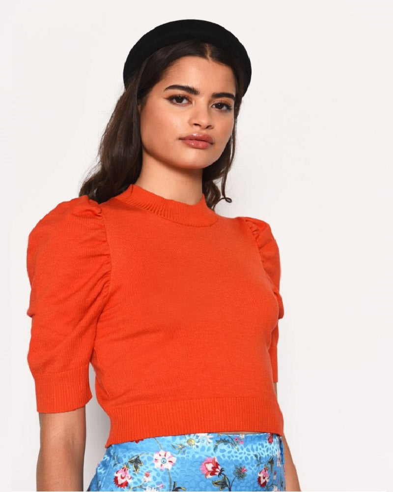 Orange Sleeve Detail Top