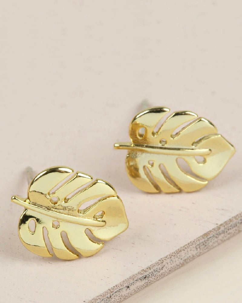 Palm Leaf Earrings In Gold