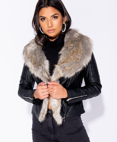 Biker Jacket with faux fur collar